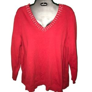 Pretty pearl and sparkle red plus size sweater 2XL